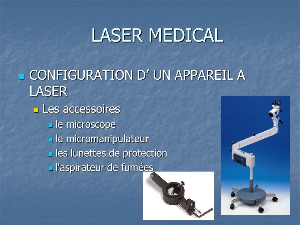 LASER MEDICAL CONFIGURATION D UN APPAREIL A LASER CONFIGURATION D UN APPAREIL A LASER Les accessoires Les accessoires le microscope le microscope le m