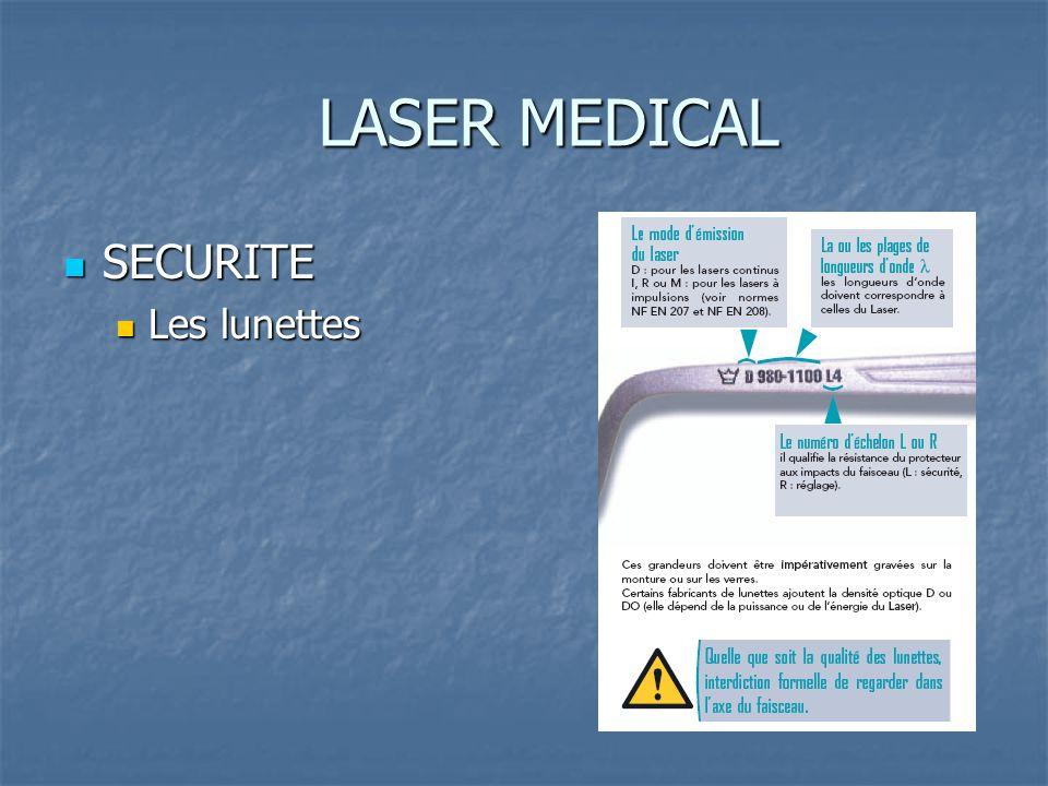 LASER MEDICAL SECURITE SECURITE Les lunettes Les lunettes