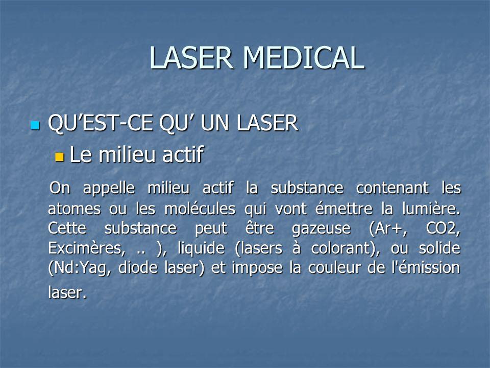 LASER MEDICAL QUEST-CE QU UN LASER QUEST-CE QU UN LASER Le milieu actif Le milieu actif On appelle milieu actif la substance contenant les atomes ou les molécules qui vont émettre la lumière.