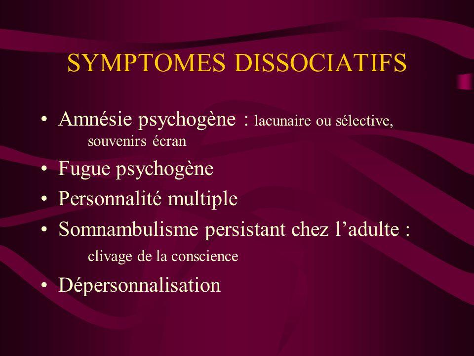 SYMPTOMES DISSOCIATIFS Amnésie psychogène : lacunaire ou sélective, souvenirs écran Fugue psychogène Personnalité multiple Somnambulisme persistant ch