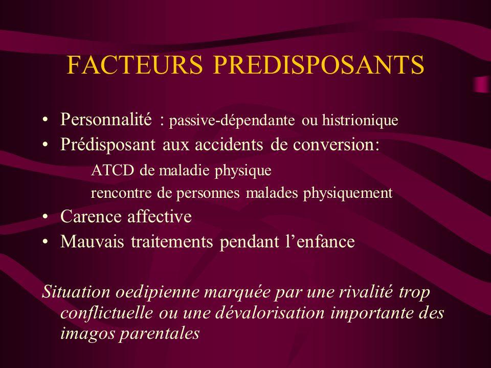 FACTEURS PREDISPOSANTS Personnalité : passive-dépendante ou histrionique Prédisposant aux accidents de conversion: ATCD de maladie physique rencontre