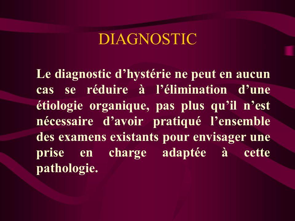 DIAGNOSTIC Le diagnostic dhystérie ne peut en aucun cas se réduire à lélimination dune étiologie organique, pas plus quil nest nécessaire davoir prati