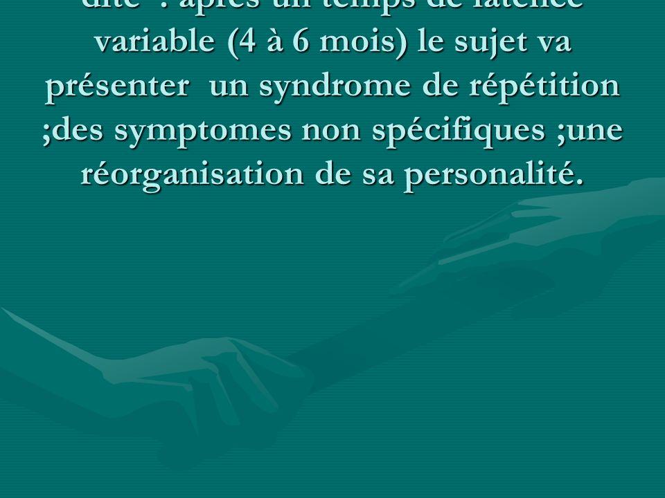 Le syndrome de répétition est un symptome specifique ; c est la reviviscence de la scéne traumatique à létat de conscience (flash back) ou pendant le sommeil (cauchemards).