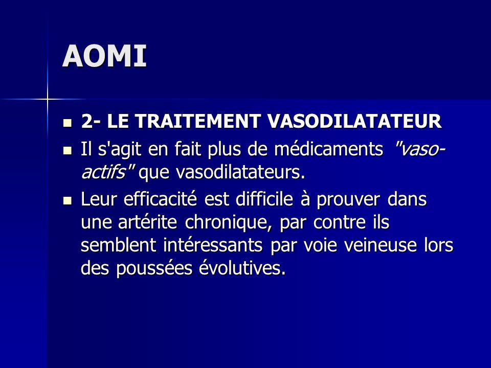 AOMI 2- LE TRAITEMENT VASODILATATEUR 2- LE TRAITEMENT VASODILATATEUR Il s'agit en fait plus de médicaments