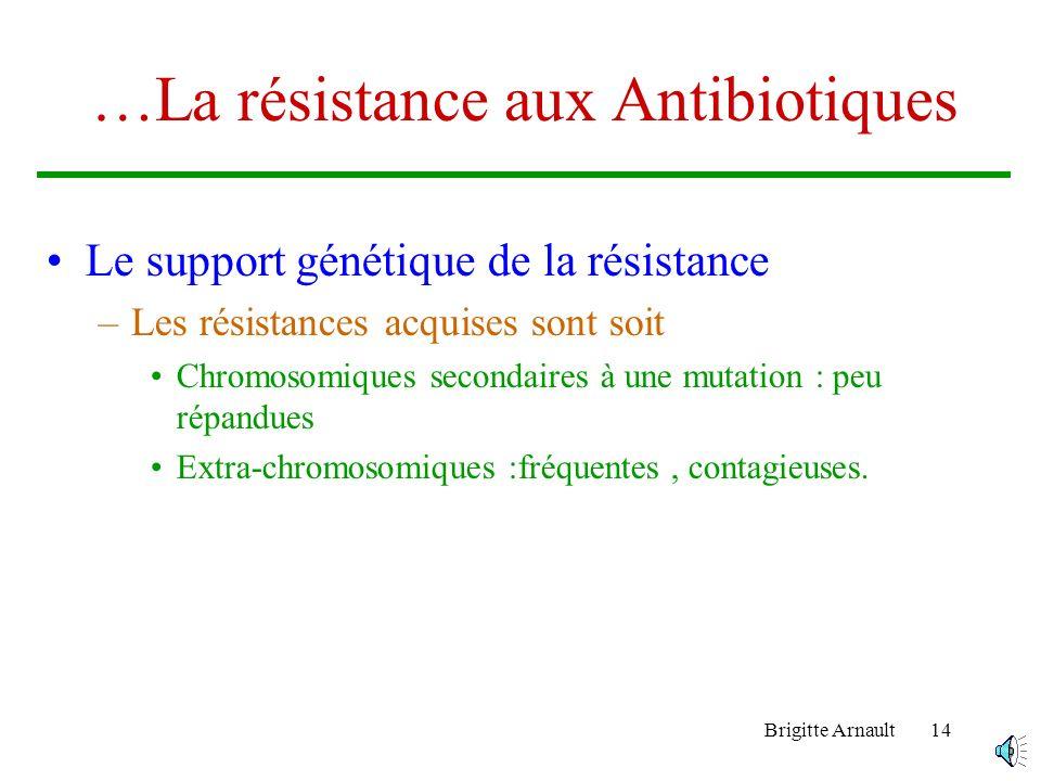 Brigitte Arnault13 La résistance aux Antibiotiques… Les types de résistance –Les résistances naturelles –Les résistances acquises Les phénotypes de ré