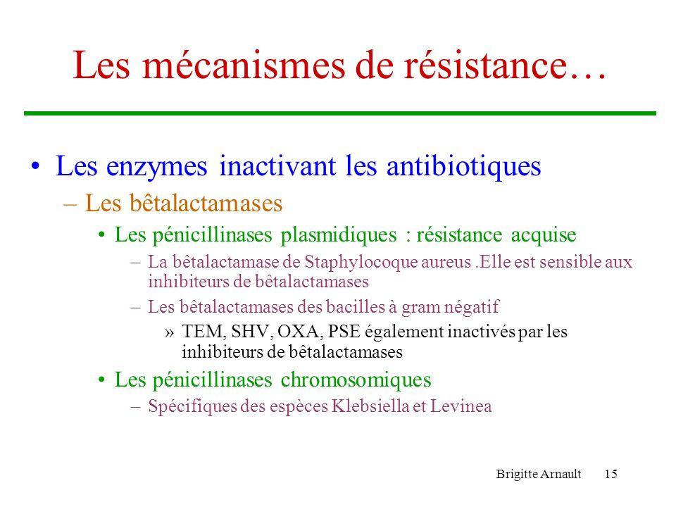 Brigitte Arnault14 …La résistance aux Antibiotiques Le support génétique de la résistance –Les résistances acquises sont soit Chromosomiques secondair