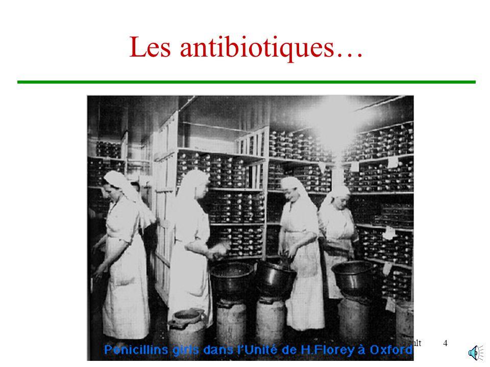 Brigitte Arnault14 …La résistance aux Antibiotiques Le support génétique de la résistance –Les résistances acquises sont soit Chromosomiques secondaires à une mutation : peu répandues Extra-chromosomiques :fréquentes, contagieuses.