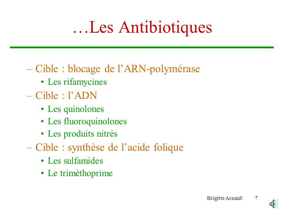 Brigitte Arnault7 …Les Antibiotiques –Cible : blocage de lARN-polymérase Les rifamycines –Cible : lADN Les quinolones Les fluoroquinolones Les produits nitrés –Cible : synthèse de lacide folique Les sulfamides Le triméthoprime