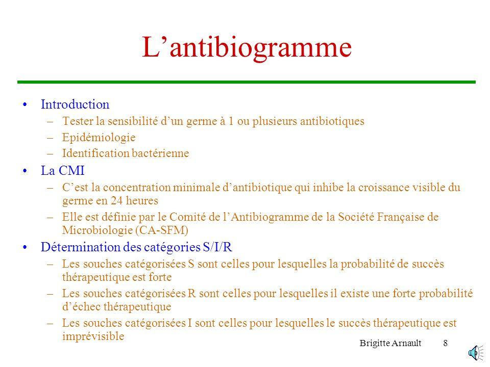 Brigitte Arnault7 …Les Antibiotiques –Cible : blocage de lARN-polymérase Les rifamycines –Cible : lADN Les quinolones Les fluoroquinolones Les produit