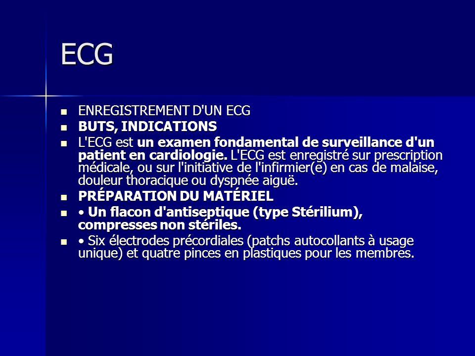 ECG ENREGISTREMENT D'UN ECG ENREGISTREMENT D'UN ECG BUTS, INDICATIONS BUTS, INDICATIONS L'ECG est un examen fondamental de surveillance d'un patient e