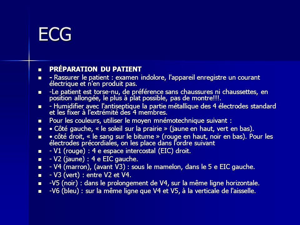 ECG PRÉPARATION DU PATIENT PRÉPARATION DU PATIENT - Rassurer le patient : examen indolore, l'appareil enregistre un courant électrique et n'en produit