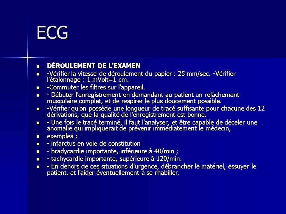 ECG DÉROULEMENT DE L'EXAMEN DÉROULEMENT DE L'EXAMEN -Vérifier la vitesse de déroulement du papier : 25 mm/sec. -Vérifier l'étalonnage : 1 mVolt=1 cm.