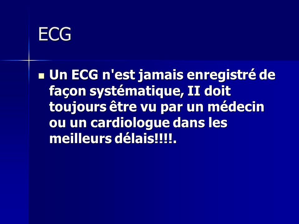 ECG Un ECG n'est jamais enregistré de façon systématique, II doit toujours être vu par un médecin ou un cardiologue dans les meilleurs délais!!!!. Un