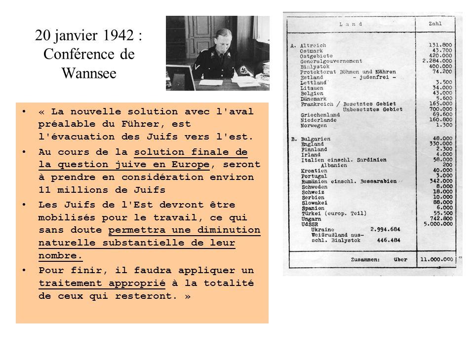 20 janvier 1942 : Conférence de Wannsee « La nouvelle solution avec l aval préalable du Führer, est l évacuation des Juifs vers l est.