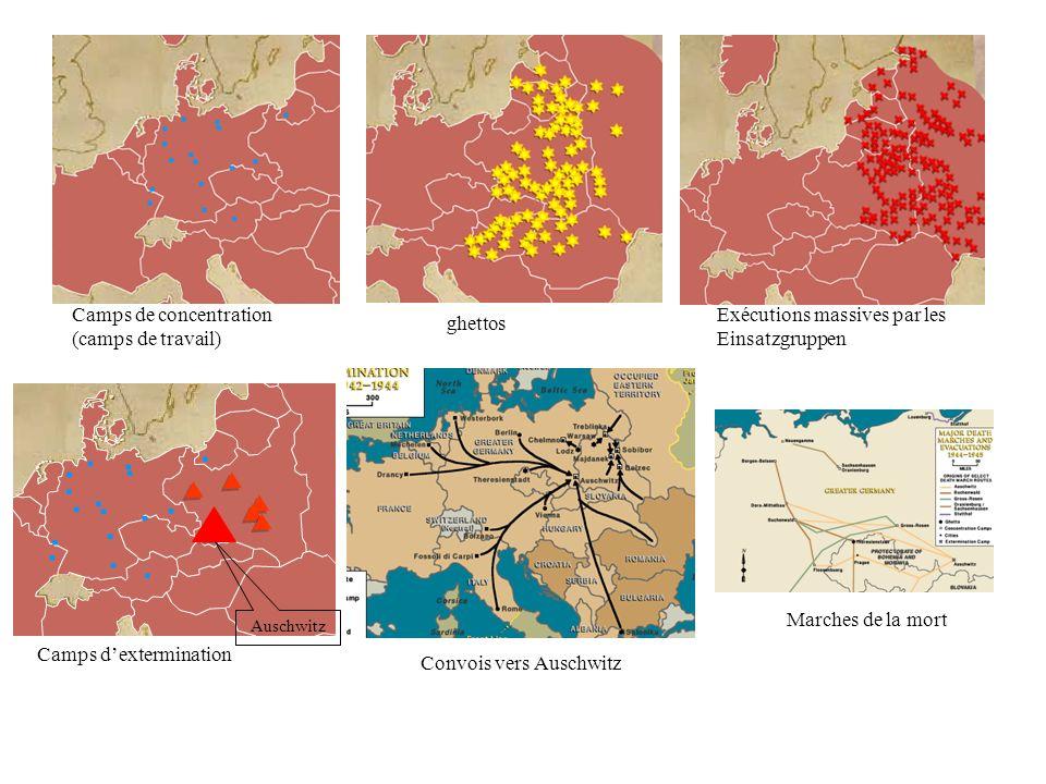 Camps de concentration (camps de travail) ghettos Exécutions massives par les Einsatzgruppen Camps dextermination Convois vers Auschwitz Marches de la mort Auschwitz