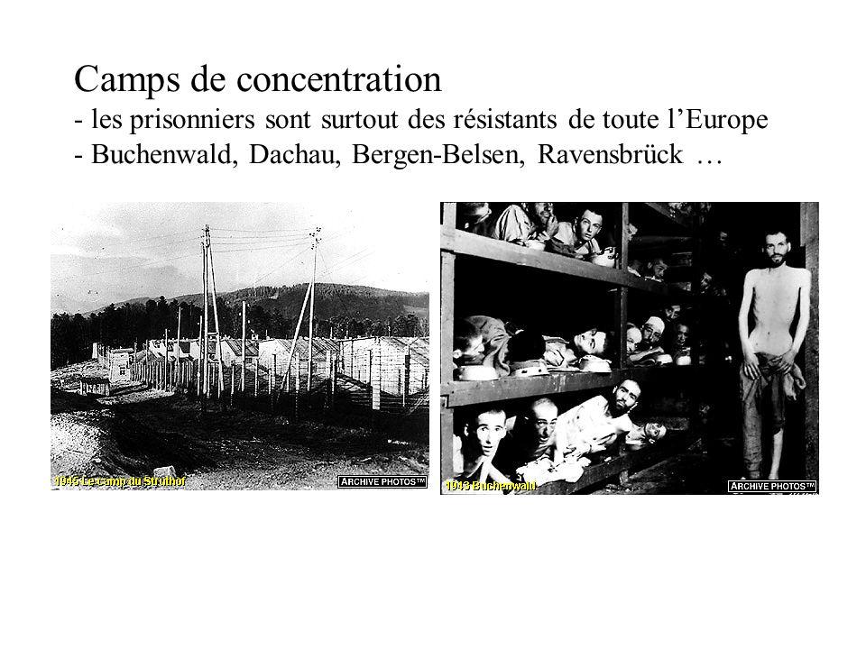 Camps de concentration - les prisonniers sont surtout des résistants de toute lEurope - Buchenwald, Dachau, Bergen-Belsen, Ravensbrück …
