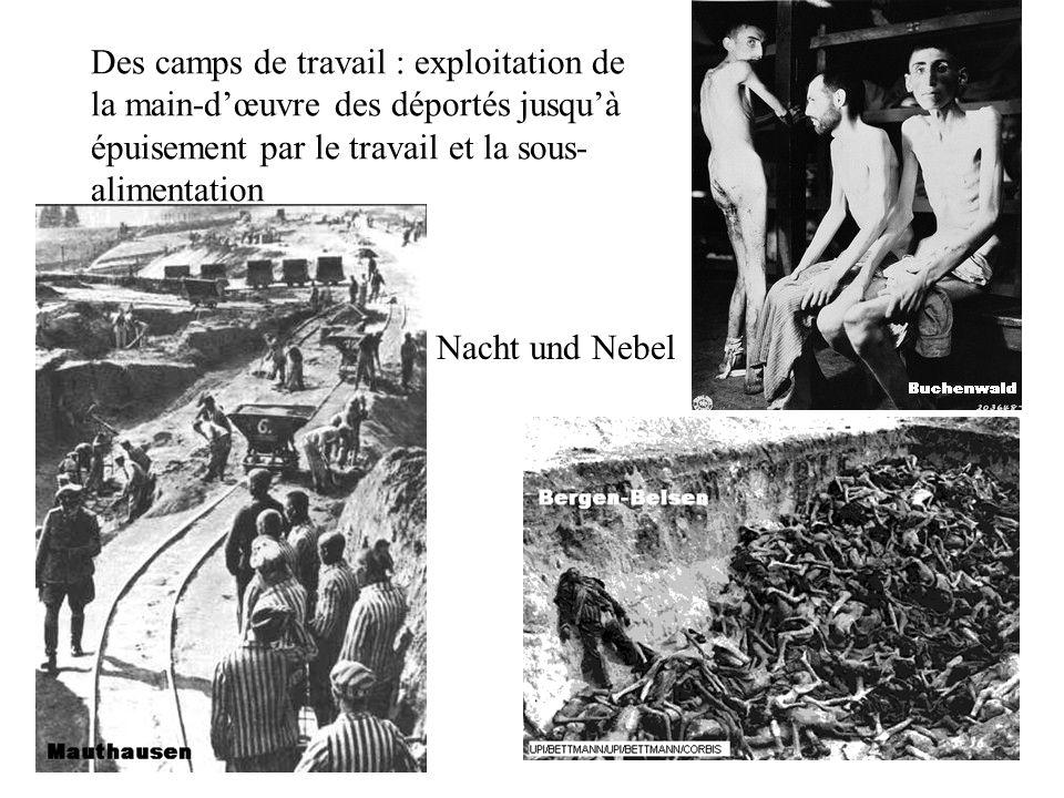 Des camps de travail : exploitation de la main-dœuvre des déportés jusquà épuisement par le travail et la sous- alimentation Nacht und Nebel