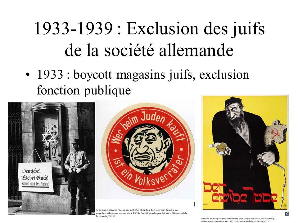 1933-1939 : Exclusion des juifs de la société allemande 1933 : boycott magasins juifs, exclusion fonction publique