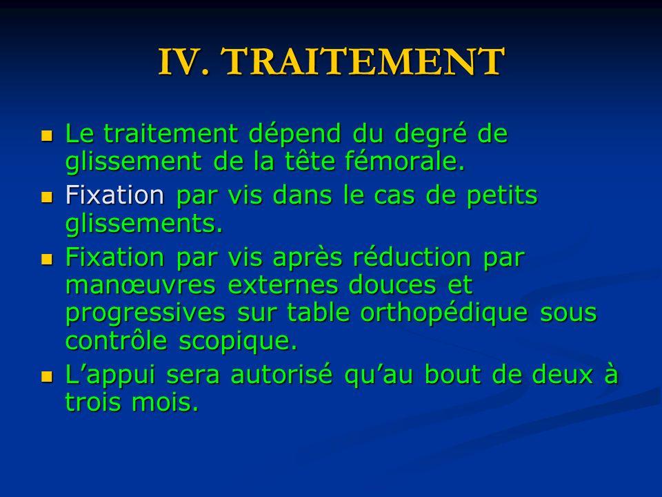 IV.TRAITEMENT Le traitement dépend du degré de glissement de la tête fémorale.