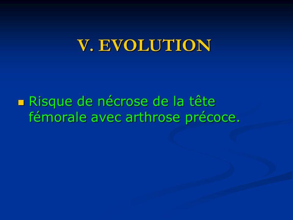 V.EVOLUTION Risque de nécrose de la tête fémorale avec arthrose précoce.