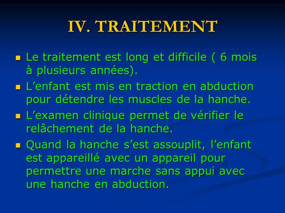 IV.TRAITEMENT Le traitement est long et difficile ( 6 mois à plusieurs années).