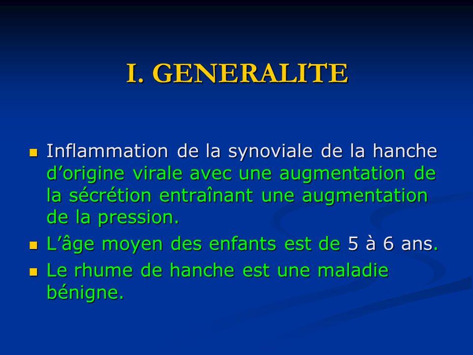 I. GENERALITE Inflammation de la synoviale de la hanche dorigine virale avec une augmentation de la sécrétion entraînant une augmentation de la pressi