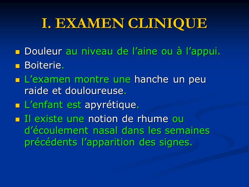 I.EXAMEN CLINIQUE Douleur au niveau de laine ou à lappui.