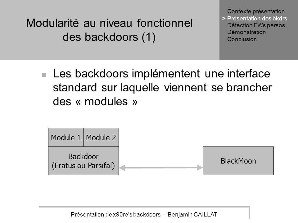 Présentation de x90res backdoors – Benjamin CAILLAT Modularité au niveau fonctionnel des backdoors (1) Les backdoors implémentent une interface standard sur laquelle viennent se brancher des « modules » Module 1Module 2 Backdoor (Fratus ou Parsifal) BlackMoon Contexte présentation Présentation des bkdrs Détection FWs persos Démonstration Conclusion >