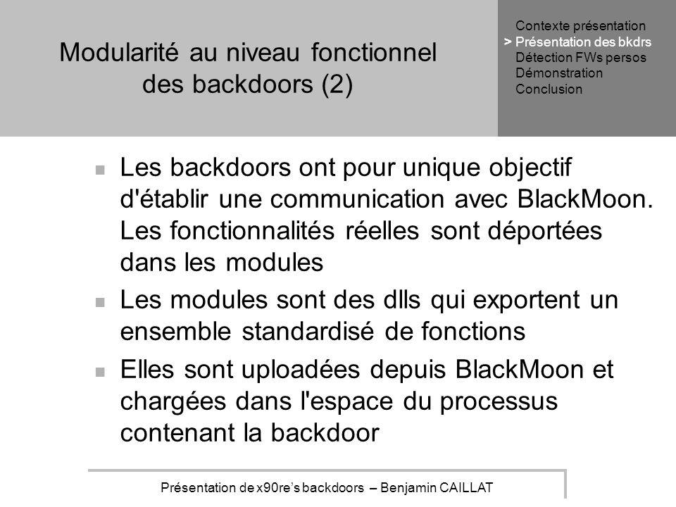 Présentation de x90res backdoors – Benjamin CAILLAT Modularité au niveau fonctionnel des backdoors (2) Les backdoors ont pour unique objectif d établir une communication avec BlackMoon.