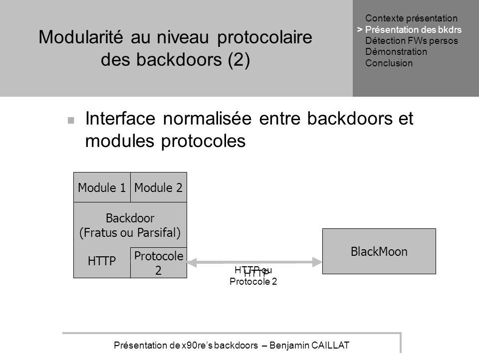 Présentation de x90res backdoors – Benjamin CAILLAT Modularité au niveau protocolaire des backdoors (2) Interface normalisée entre backdoors et modules protocoles Backdoor (Fratus ou Parsifal) Module 1Module 2 BlackMoon HTTP Protocole 2 HTTP ou Protocole 2 HTTP Contexte présentation Présentation des bkdrs Détection FWs persos Démonstration Conclusion >