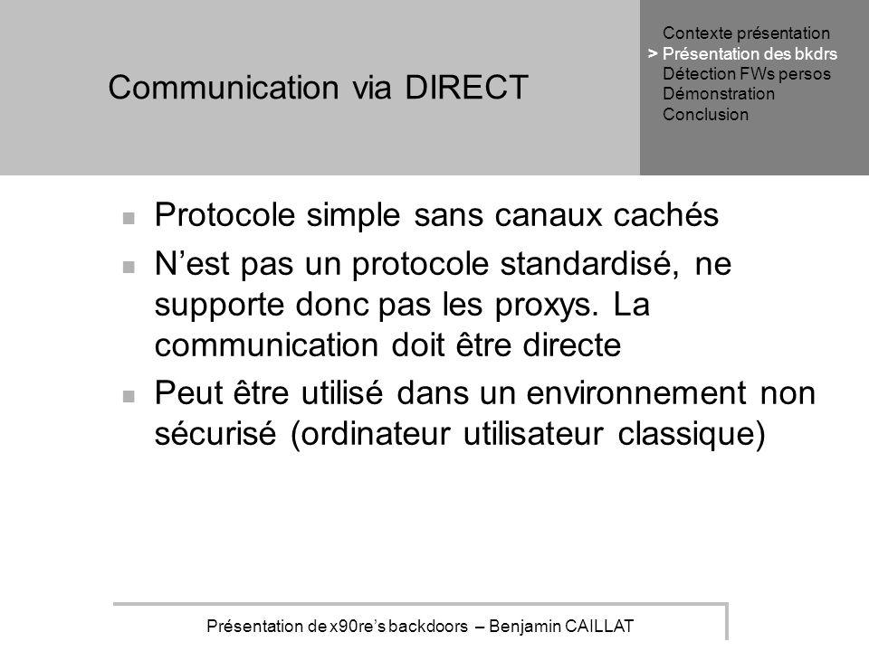 Présentation de x90res backdoors – Benjamin CAILLAT Communication via DIRECT Protocole simple sans canaux cachés Nest pas un protocole standardisé, ne supporte donc pas les proxys.