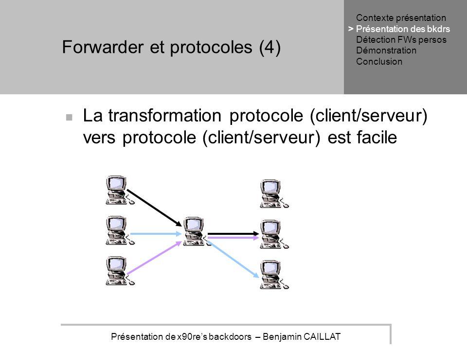 Présentation de x90res backdoors – Benjamin CAILLAT Forwarder et protocoles (4) La transformation protocole (client/serveur) vers protocole (client/serveur) est facile Contexte présentation Présentation des bkdrs Détection FWs persos Démonstration Conclusion >