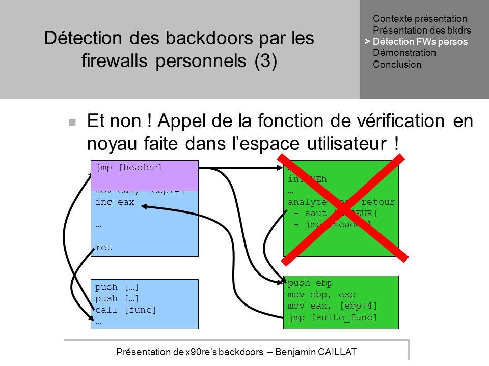 Présentation de x90res backdoors – Benjamin CAILLAT Détection des backdoors par les firewalls personnels (3) Et non .