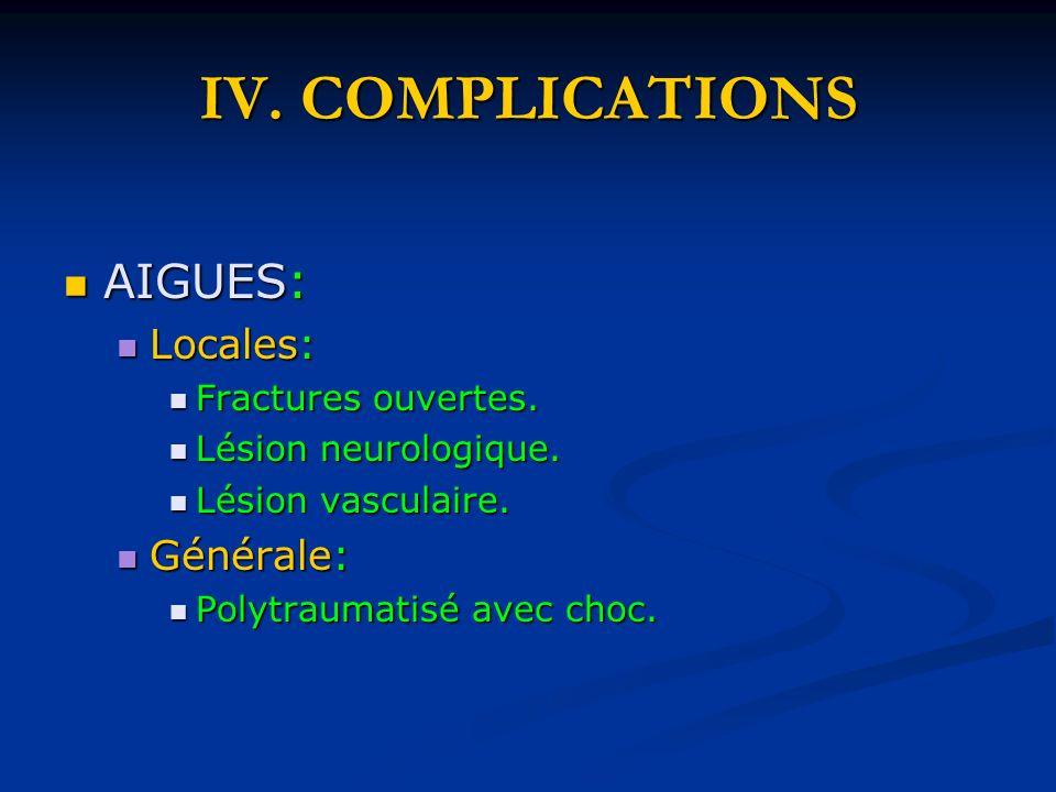 IV. COMPLICATIONS AIGUES: AIGUES: Locales: Locales: Fractures ouvertes. Fractures ouvertes. Lésion neurologique. Lésion neurologique. Lésion vasculair