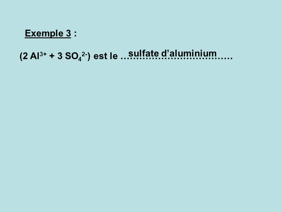 Exemple 2 : Solution de chlorure de fer II ion + : …………….. ion - : ……………… Formule de la solution : (…….…+………..) Fe 2+ Cl - Fe 2+ 2 Cl - Une solution i