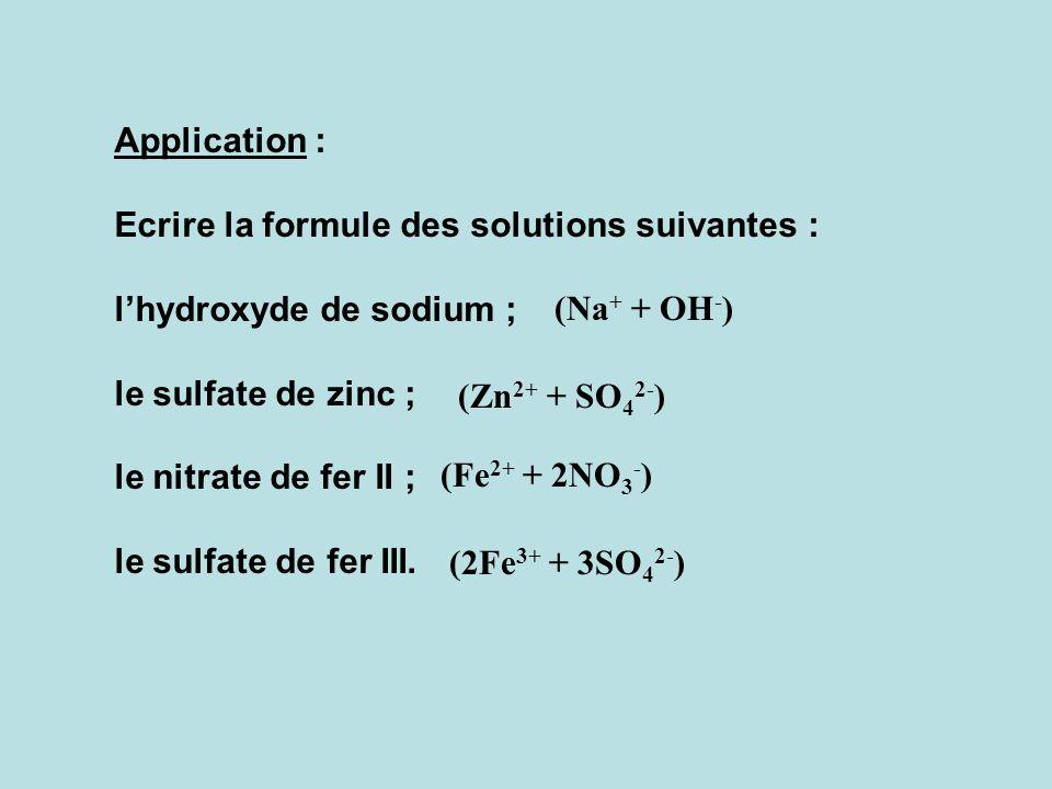 Notation : dans cette notation ( ………… + ………… ) Les parenthèses ( … ) signifient que les ions sont en solution. Le + signifie que les ions sont dissoci