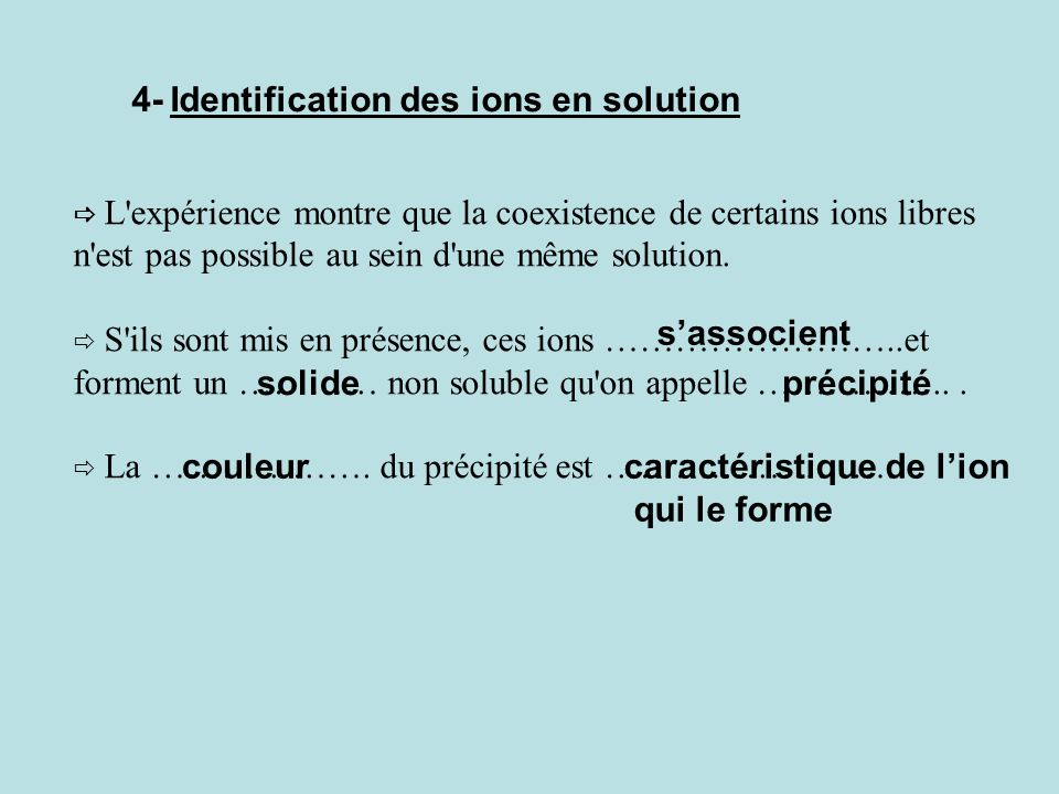 Trouver les noms des solutions suivantes : (2Na + + SO 4 2- ) sulfate de sodium. (2Na + + CO 3 2- ) carbonate de sodium. (Fe 3+ + 3Cl - ) chlorure de