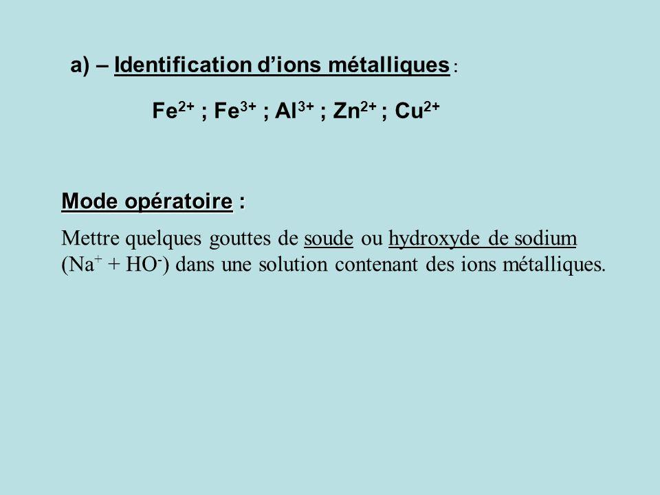 4- Identification des ions en solution L'expérience montre que la coexistence de certains ions libres n'est pas possible au sein d'une même solution.