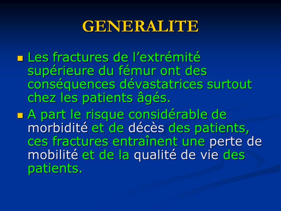 GENERALITE Les fractures de lextrémité supérieure du fémur ont des conséquences dévastatrices surtout chez les patients âgés. Les fractures de lextrém