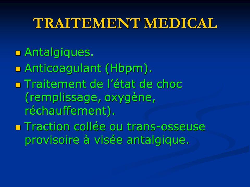 TRAITEMENT MEDICAL Antalgiques. Antalgiques. Anticoagulant (Hbpm). Anticoagulant (Hbpm). Traitement de létat de choc (remplissage, oxygène, réchauffem