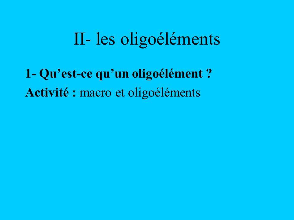 II- les oligoéléments 1- Quest-ce quun oligoélément ? Activité : macro et oligoéléments