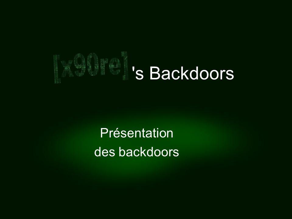 - x90re backdoors - Objectif et plan Lobjectif de cette présentation est de faire une démonstration des possibilités de backdoors avancées sous Windows Elle commence par une présentation de lenvironnement et des backdoors, suivie dune démonstration effectuée via une capture vidéo