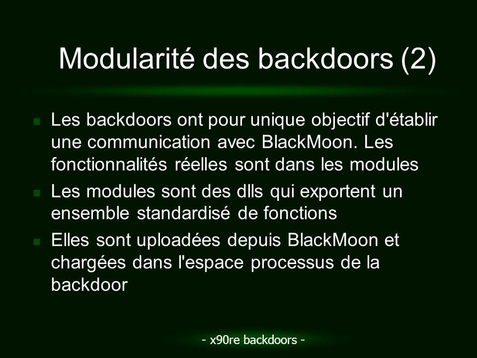 - x90re backdoors - Modularité des backdoors (2) Les backdoors ont pour unique objectif d'établir une communication avec BlackMoon. Les fonctionnalité