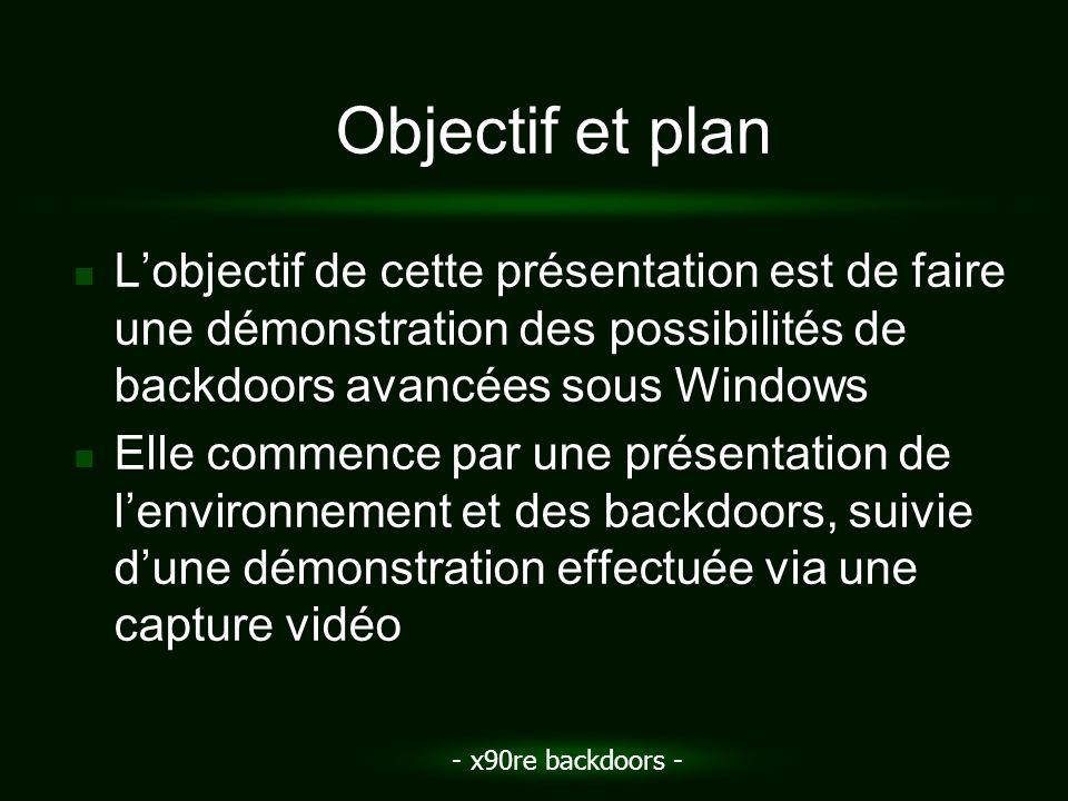 - x90re backdoors - Objectif et plan Lobjectif de cette présentation est de faire une démonstration des possibilités de backdoors avancées sous Window