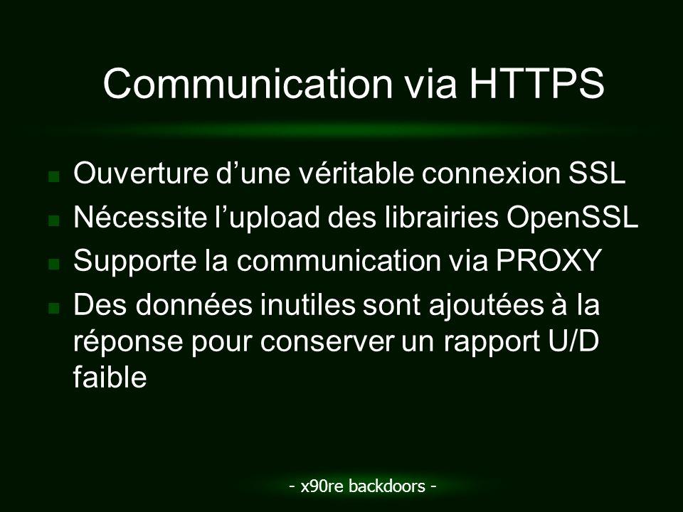 - x90re backdoors - Communication via HTTPS Ouverture dune véritable connexion SSL Nécessite lupload des librairies OpenSSL Supporte la communication