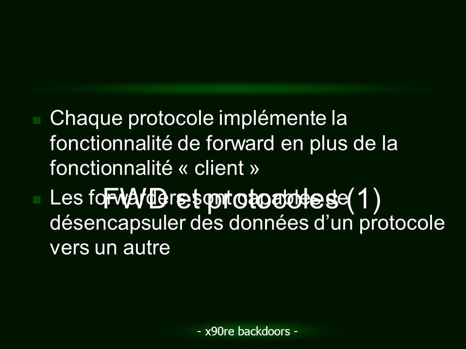 - x90re backdoors - Chaque protocole implémente la fonctionnalité de forward en plus de la fonctionnalité « client » Les forwarders sont capables de d