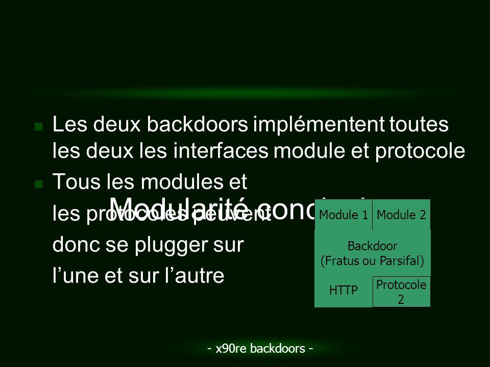 - x90re backdoors - Les deux backdoors implémentent toutes les deux les interfaces module et protocole Tous les modules et les protocoles peuvent donc