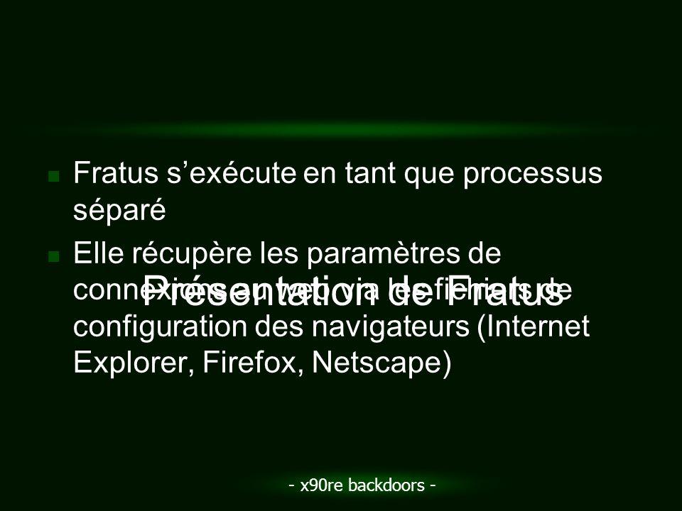 - x90re backdoors - Fratus sexécute en tant que processus séparé Elle récupère les paramètres de connexions au web via les fichiers de configuration d