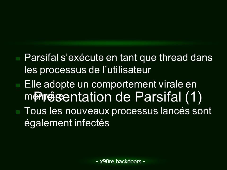 - x90re backdoors - Parsifal sexécute en tant que thread dans les processus de lutilisateur Elle adopte un comportement virale en mémoire Tous les nou