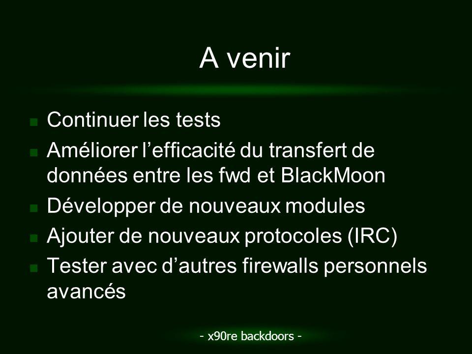 - x90re backdoors - A venir Continuer les tests Améliorer lefficacité du transfert de données entre les fwd et BlackMoon Développer de nouveaux module